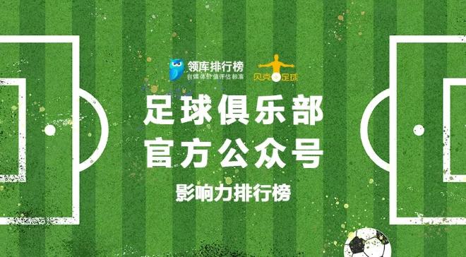 贝克出品:足球俱乐部官方微信公众号影响力排行榜