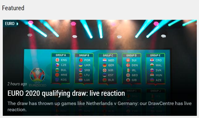 2020年欧洲国家杯外围分组赛抽签揭晓