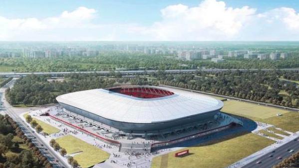 上海浦东足球场主体成型 创多项第一